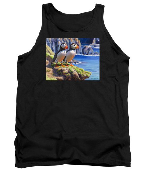 Tank Top featuring the painting Reflecting - Horned Puffins - Coastal Alaska Landscape by Karen Whitworth