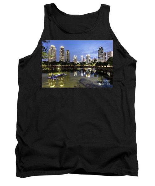 Reflection Of Jakarta Business District Skyline During Blue Hour Tank Top