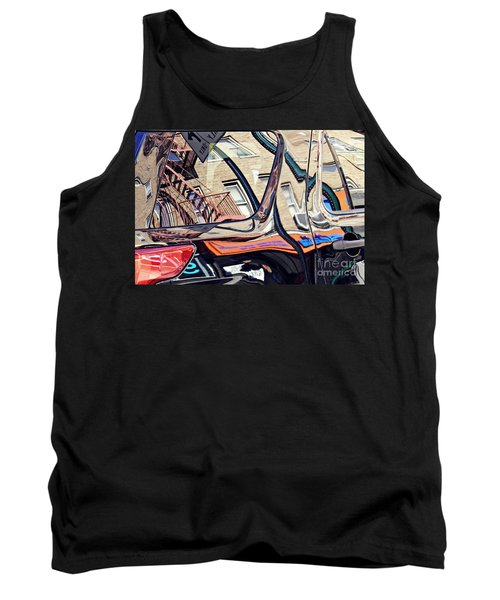 Tank Top featuring the photograph Reflection On A Parked Car 18 by Sarah Loft