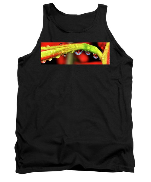 Reflections - Flowers In A Raindrop 001 Panorama Tank Top