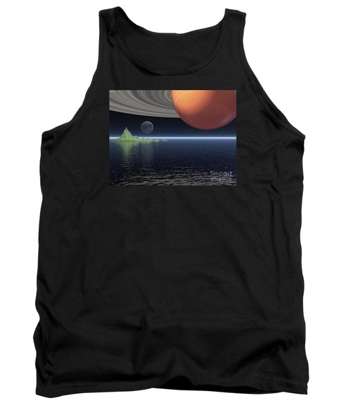 Tank Top featuring the digital art Reflections Of Saturn by Phil Perkins