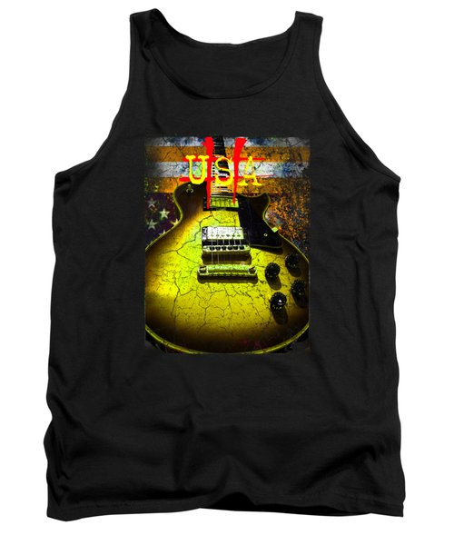 Tank Top featuring the photograph Relic Guitar Music Patriotic Usa Flag by Guitar Wacky