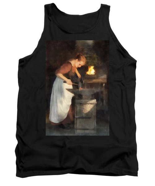 Tank Top featuring the digital art Renaissance Lady Blacksmith by Francesa Miller