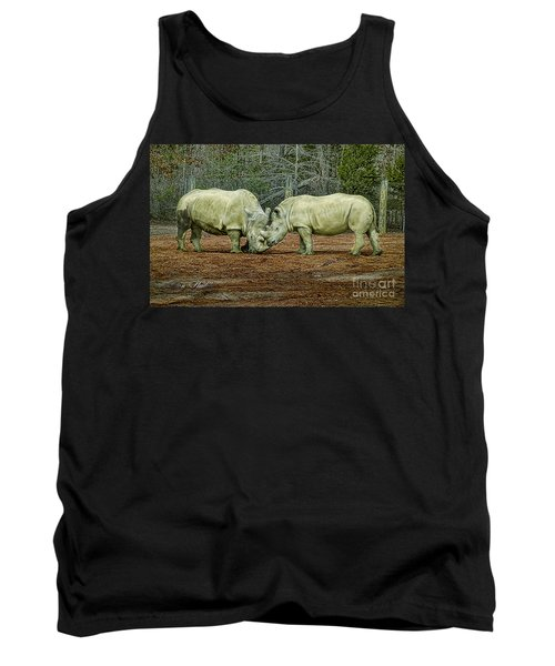 Rhinos In Love Tank Top by Melissa Messick
