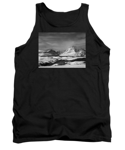 Rising Wolf Mountain- Winter - Black And White Tank Top