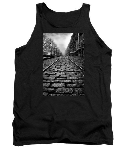 River Street Railway - Black And White Tank Top by Renee Sullivan