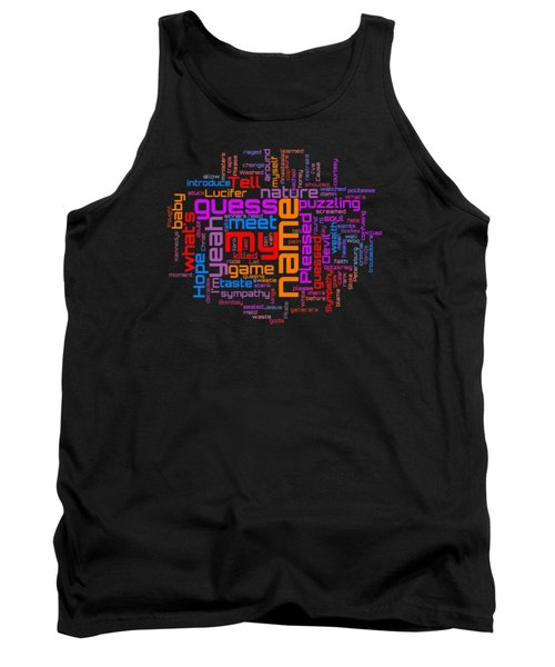 Tank Top featuring the digital art Rolling Stones - Sympathy For The Devil Lyrical Cloud by Susan Maxwell Schmidt