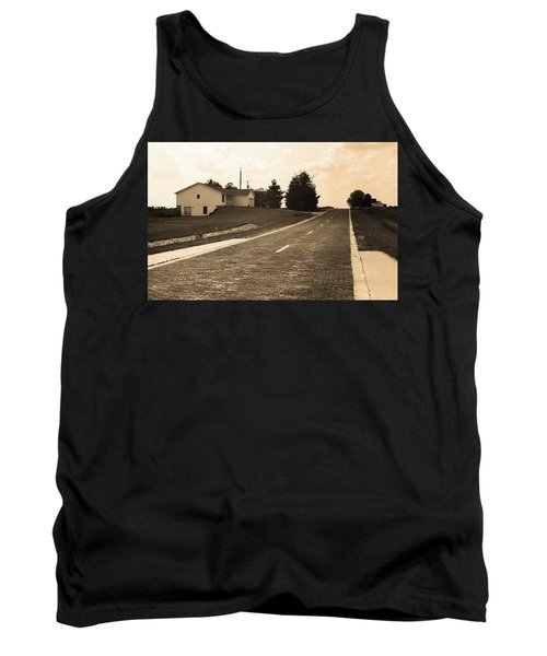 Tank Top featuring the photograph Route 66 - Brick Highway Sepia by Frank Romeo