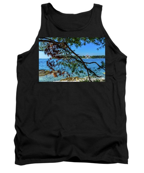 Rovinj Old Town Accross The Adriatic Through The Trees Tank Top
