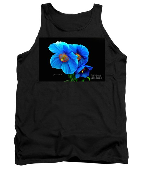 Royal Blue Poppies Tank Top by Jeannie Rhode