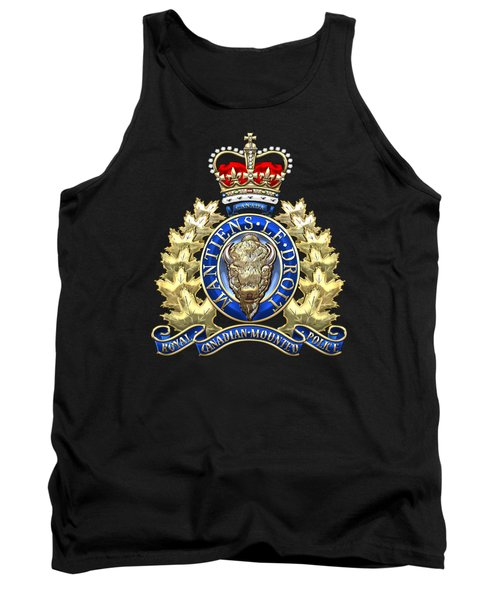 Royal Canadian Mounted Police - Rcmp Badge On Black Leather Tank Top by Serge Averbukh