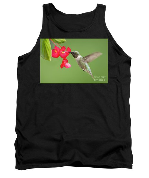 Tank Top featuring the photograph Ruby Throated Hummingbird Feeding On Begonia by Bonnie Barry