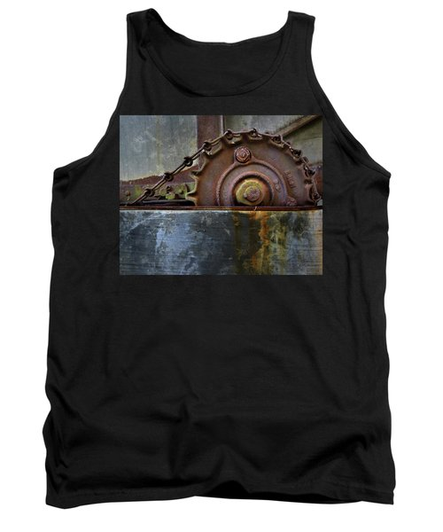 Tank Top featuring the photograph Rustic Gear And Chain by David and Carol Kelly