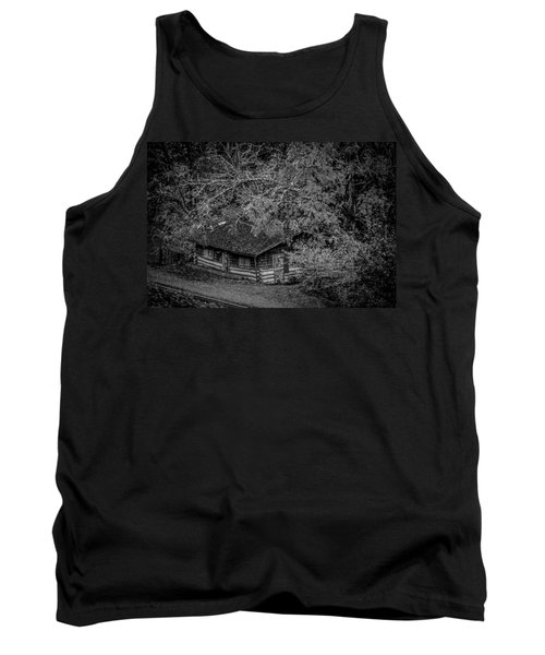 Rustic Log Cabin In Black And White Tank Top