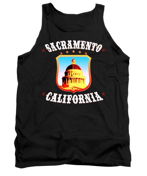 Sacramento California - Tshirt Design Tank Top by Art America Gallery Peter Potter