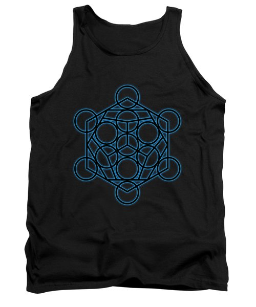 Sacred Geometry - Black Dodecahedron With Blue Halo Over Black Canvas Tank Top