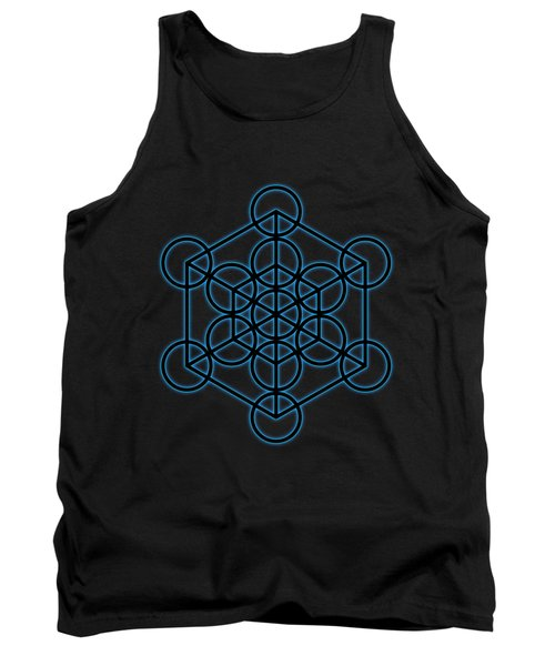 Sacred Geometry - Black Hexahedron Cube With Blue Halo Over Black Canvas Tank Top