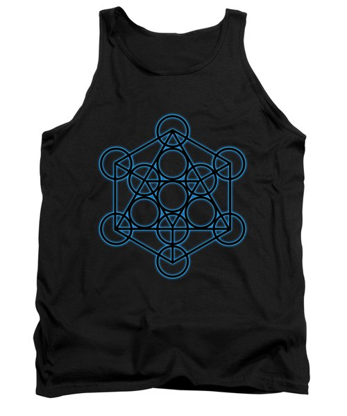 Sacred Geometry - Black Icosahedron With Blue Halo Over Black Canvas Tank Top