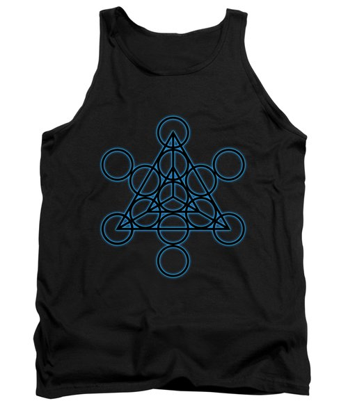 Sacred Geometry - Black Tetrahedron With Blue Halo Over Black Canvas Tank Top