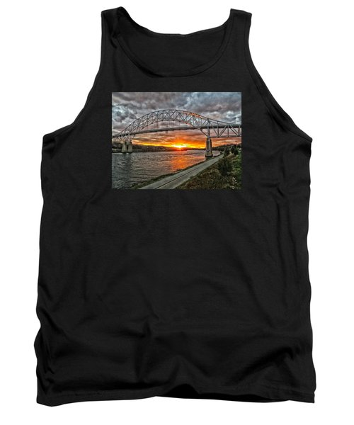 Tank Top featuring the photograph Sagamore Bridge Sunset by Constantine Gregory