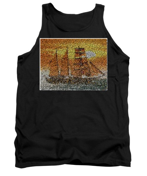 Tank Top featuring the mixed media Sail Ship Coins Mosaic by Paul Van Scott