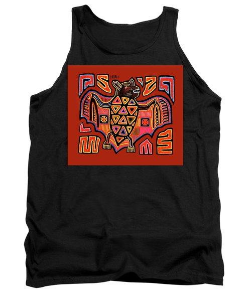 Tank Top featuring the digital art San Blas Kuna Indian Bat by Vagabond Folk Art - Virginia Vivier