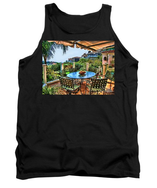 Tank Top featuring the digital art San Clemente Estate Patio by Kathy Tarochione