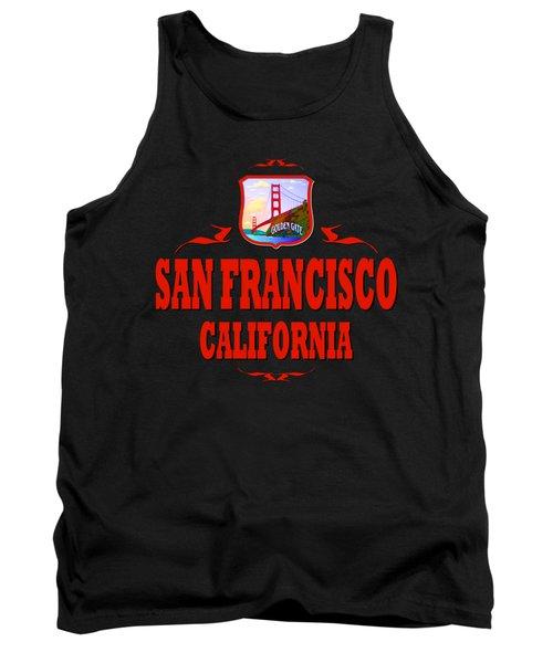 San Francisco California Tshirt Design Tank Top by Art America Gallery Peter Potter