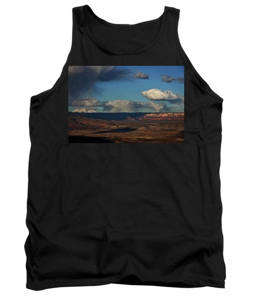 Tank Top featuring the photograph San Francisco Peaks With Snow And Clouds by Ron Chilston