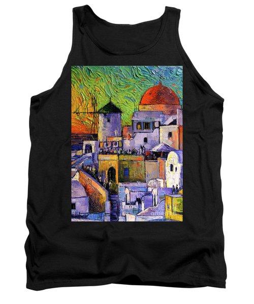 Santorini Oia Village Impressionist Palette Knives Oil Painting Tank Top