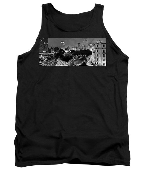 Sao Paulo Downtown At Night In Black And White - Correio Square Tank Top