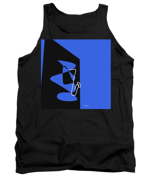 Tank Top featuring the digital art Saxophone In Blue by Jazz DaBri