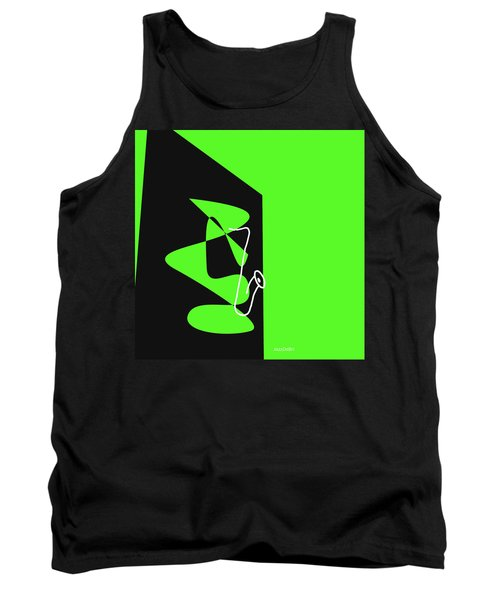 Tank Top featuring the digital art Saxophone In Green by Jazz DaBri