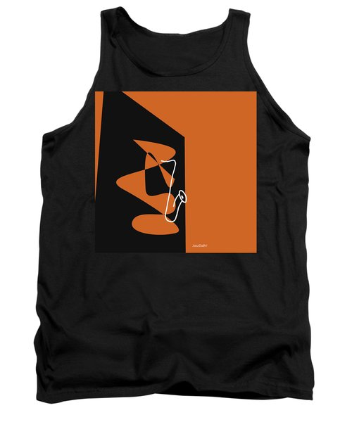 Saxophone In Orange Tank Top by David Bridburg