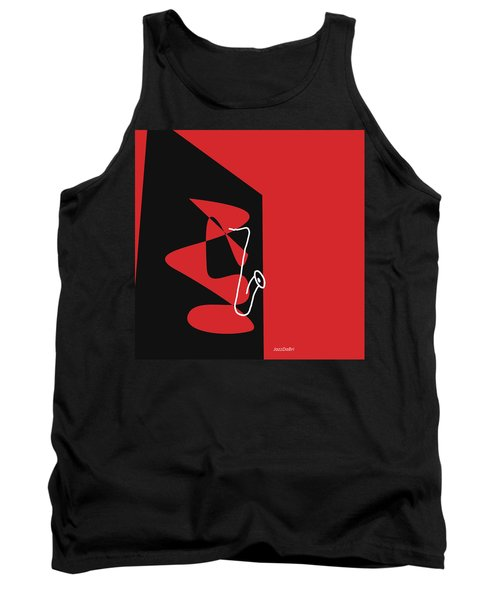Tank Top featuring the digital art Saxophone In Red by Jazz DaBri
