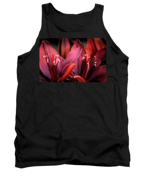 Scarlet Lilies Tank Top by Kathleen Stephens
