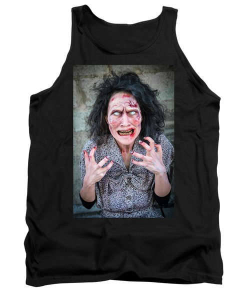 Scary Angry Zombie Woman Tank Top