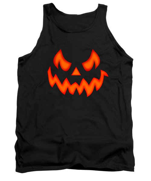 Scary Pumpkin Face Tank Top by Martin Capek