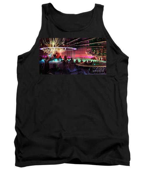 Tank Top featuring the painting Sci-fi Lounge by Tithi Luadthong