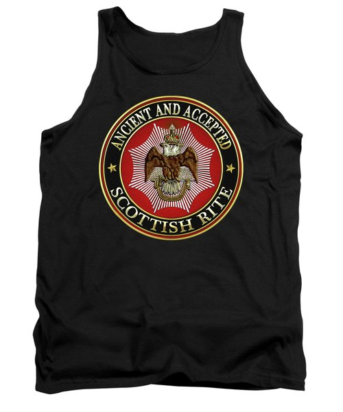 Scottish Rite Double-headed Eagle On Black Leather Tank Top