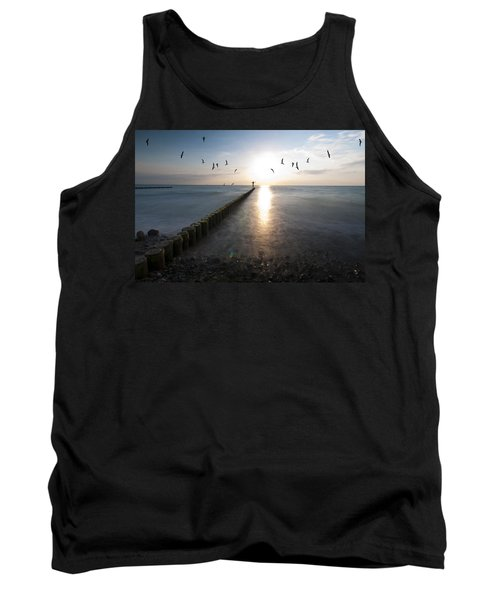 Sea Birds Sunset. Tank Top by Nathan Wright