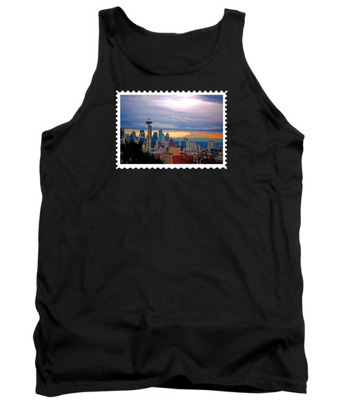 Seattle At Sunset Tank Top by Elaine Plesser