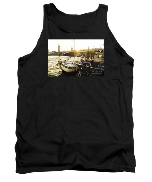 Seine River With Barges And Boats, Pont De Alexandre Bridge Behind, Paris France. Tank Top