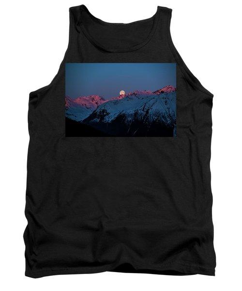 Setting Moon Over Alaskan Peaks Iv Tank Top
