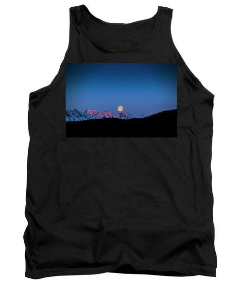 Setting Moon Over Alaskan Peaks Tank Top