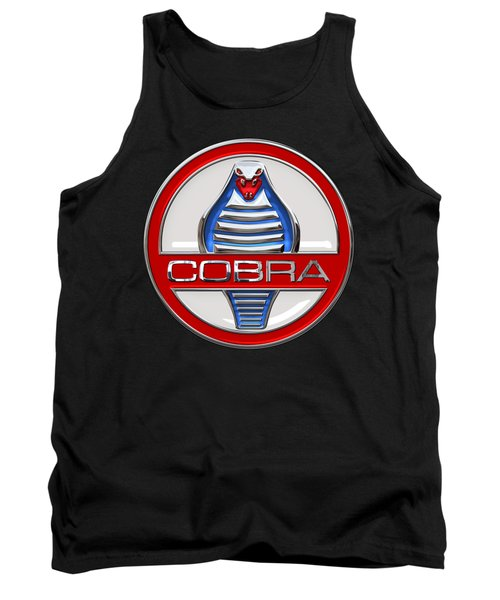 Shelby Ac Cobra - Original 3d Badge On Black Tank Top