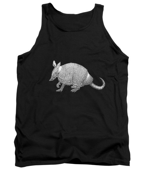 Tank Top featuring the digital art Silver Armadillo On Black Canvas by Serge Averbukh