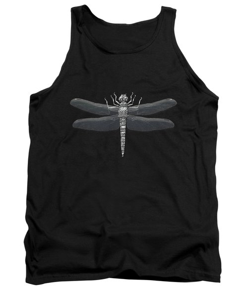 Tank Top featuring the digital art Silver Dragonfly On Black Canvas by Serge Averbukh