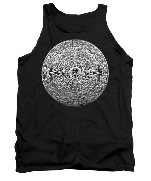 Silver Mayan-aztec Calendar On Black And Red Leather Tank Top