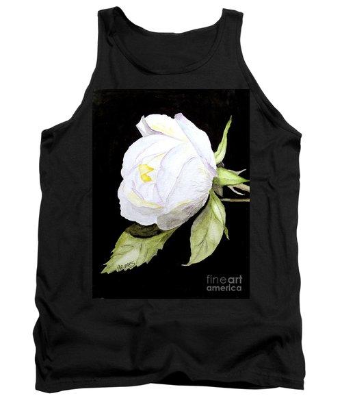 Single White  Bloom  Tank Top